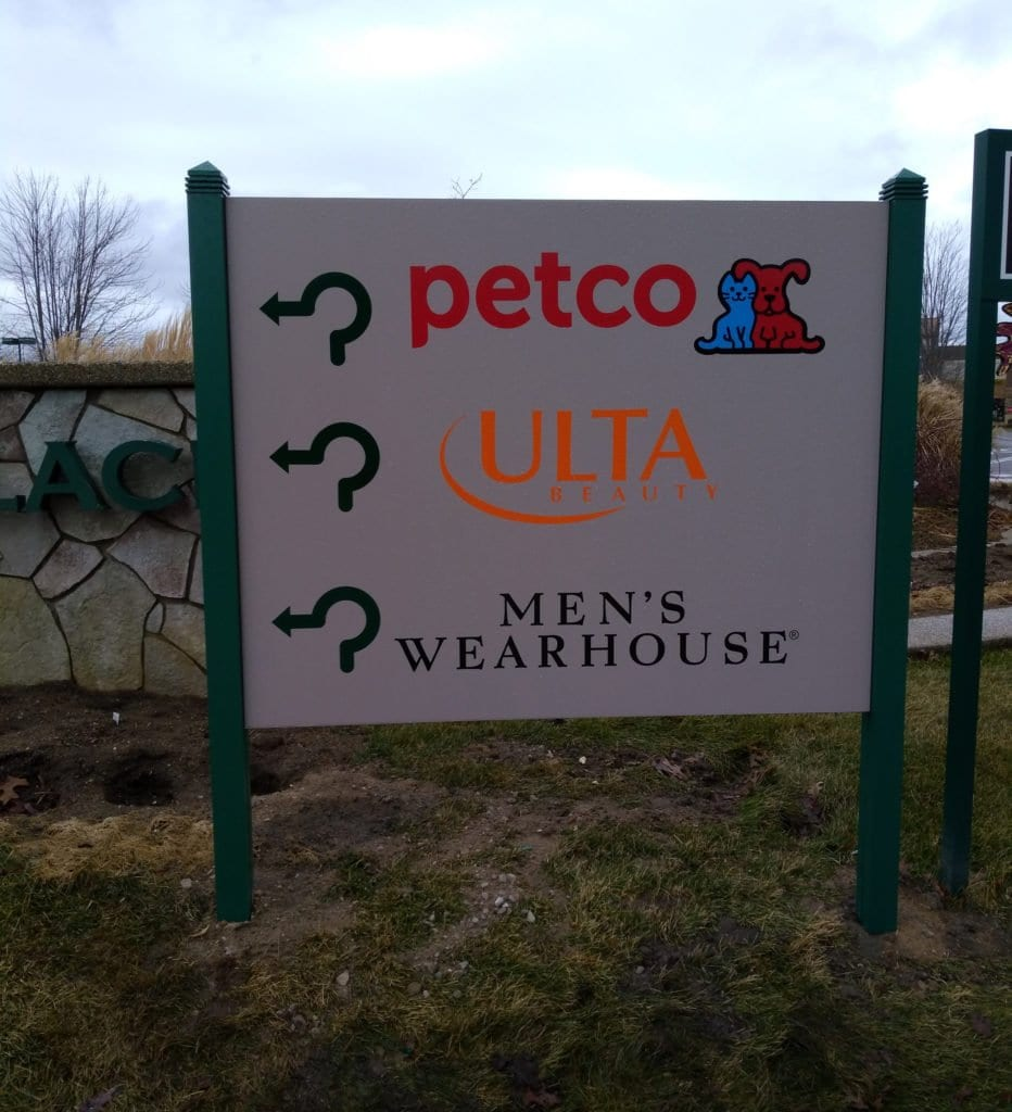 "Green Oaks Village Place- Post and Panel Sign ""Petco"" ""Ultra Beauty"" ""Mens Wearhouse"" with arrows"
