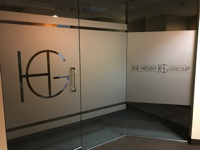 The Henry Group Etched vinyl office dorr windows