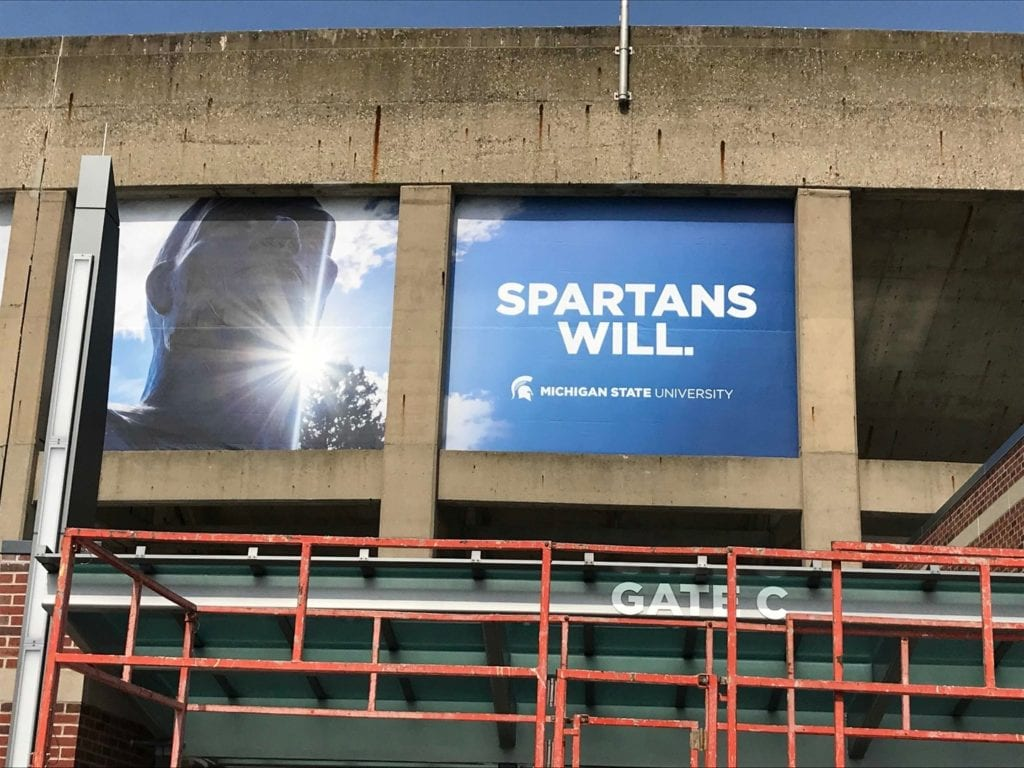 Spartans Banner parking Garage Promotional Signage sign banners