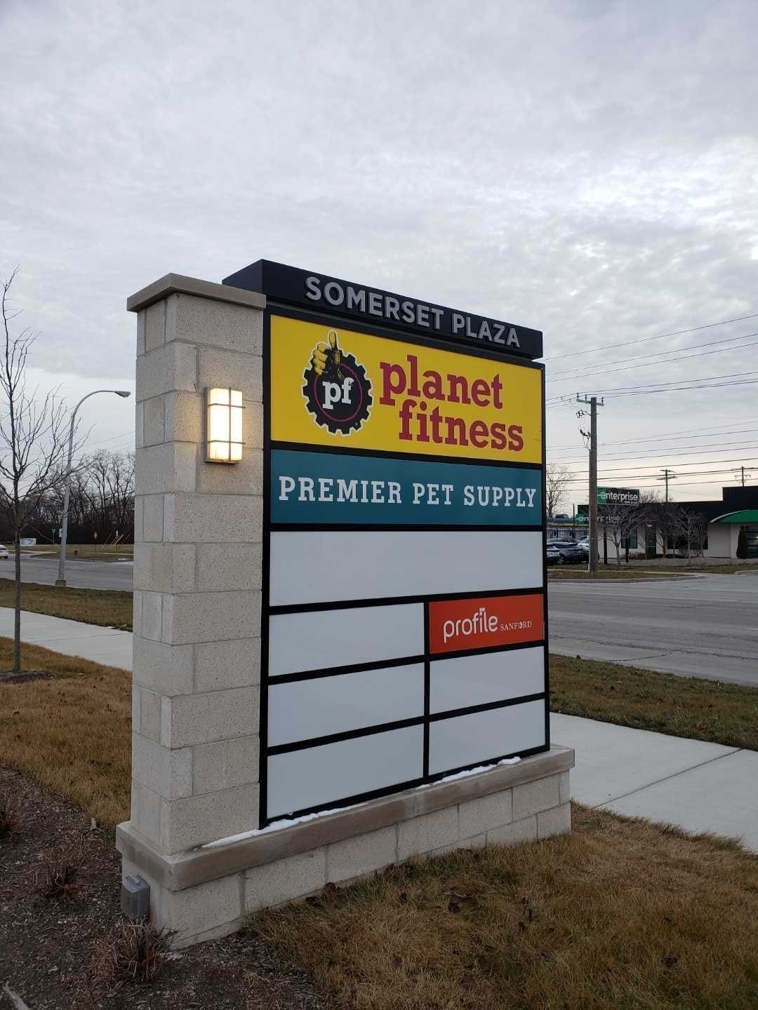 Somerset Plaza Monument Sign Premier Pet Supply tenant panels Profile Planet Fitness