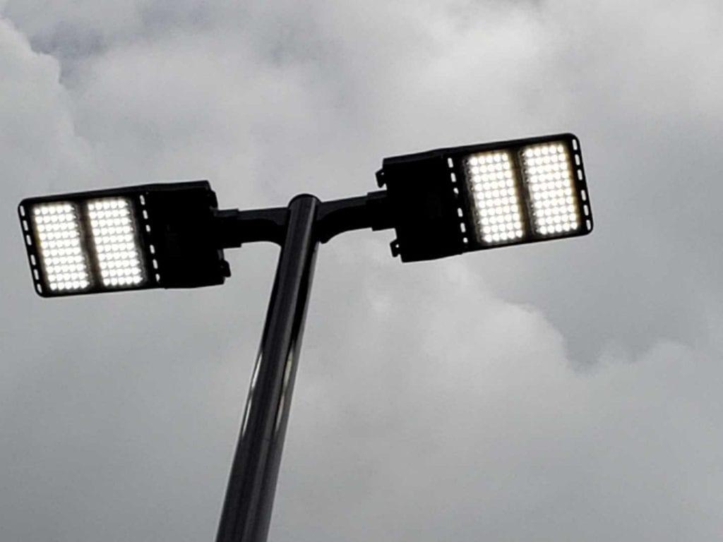 Marroitt Lighting Retrofit - double fixture on parking lot poles
