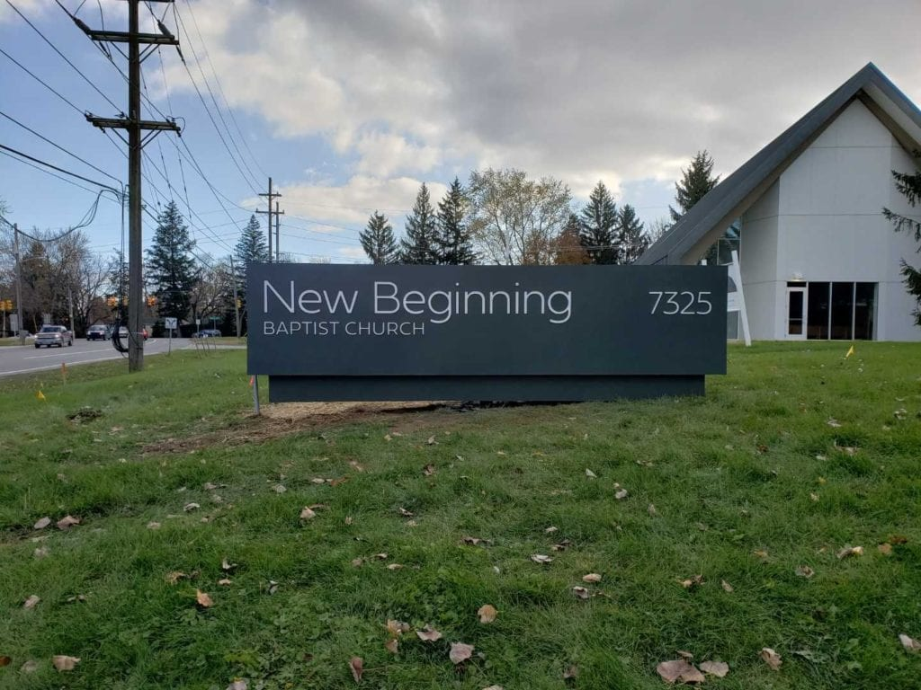 New Beginning Baptist Church monument sign roadside signage granite stone address numbers