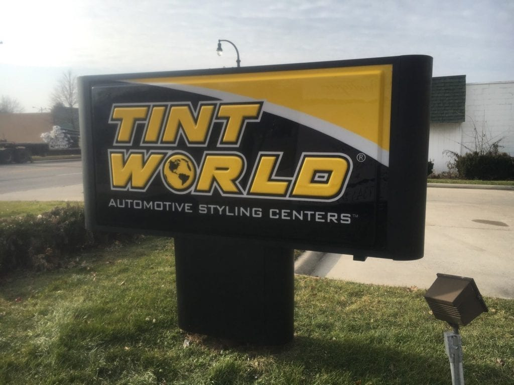 "TINT WORLD MONUMENT sign pole cover skirt aluminum routed custom formed  face letters ""automotive styling centers:"""