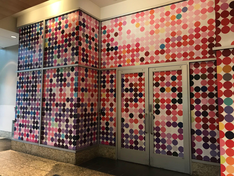 Window Door Glass Temporary covers vinyl digital printed colored circles pattern