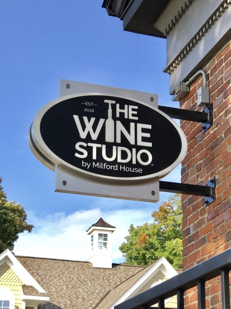 "The Wine Studio Blade sign ""by Milford House"" Push thru lettering"