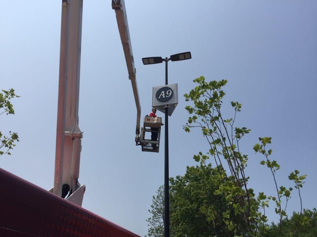 Woodland Mall Lot Pole Identification signs