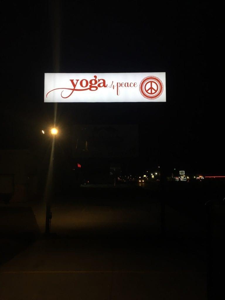 Yoga 4 Peace Iluuminating Pylon Sign