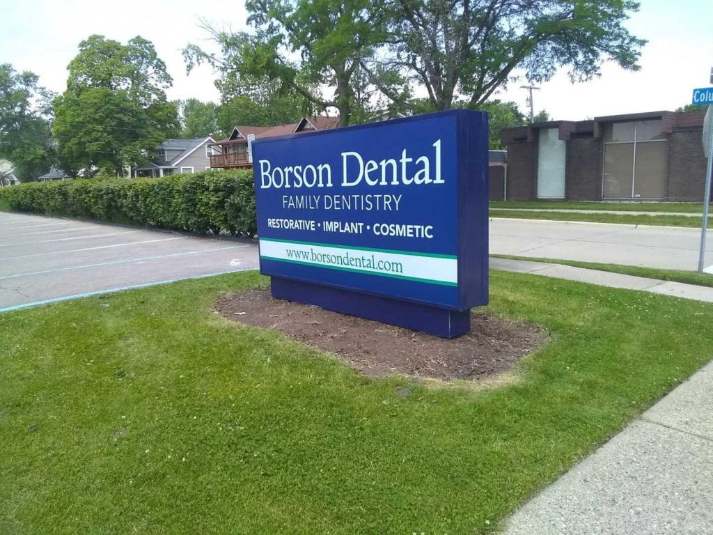 Borson Dental Family Dentistry monument sign illuminating flex face