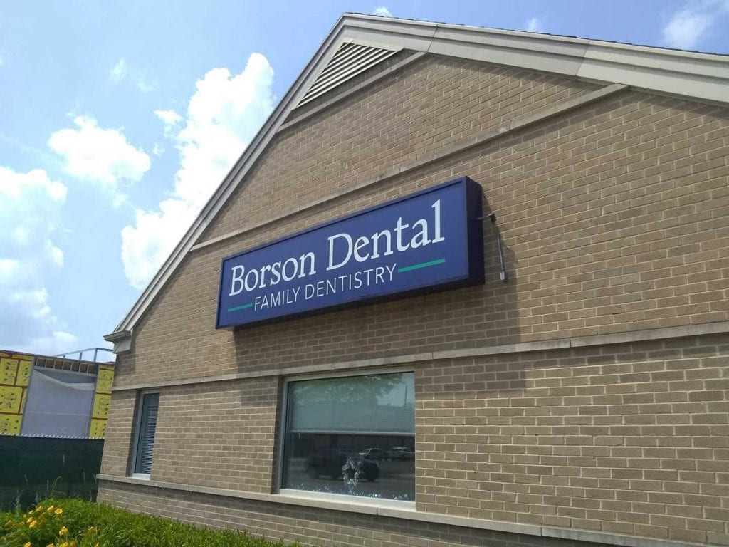 Borson Dental Family Dentistry wall building iluminating box sign flex face polycarbnate fACE
