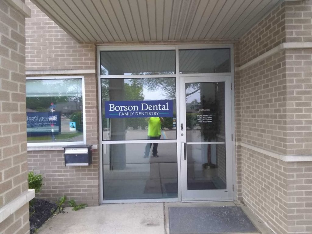 Borson Dental Family Dentistry window graphics vinyl logo