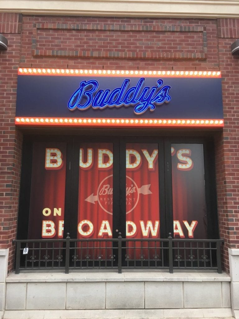 buddy's pizza Open faced Channel Letters and neon lighting window graphics Warren