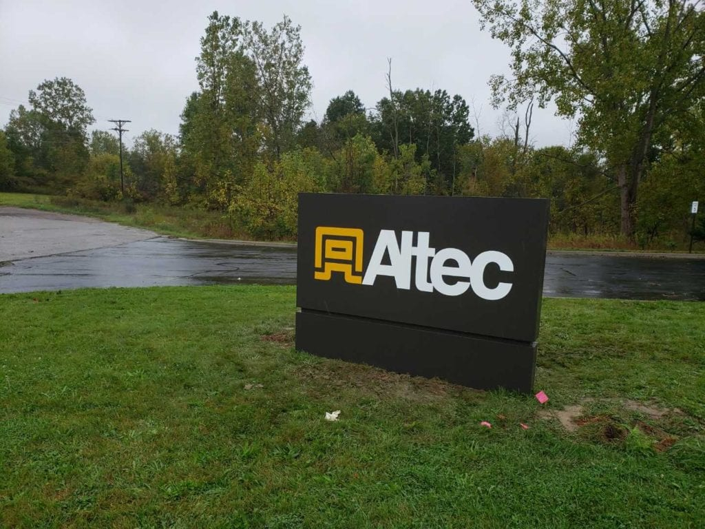 Altec Monument sign duranodic bronze aluminum base reveal