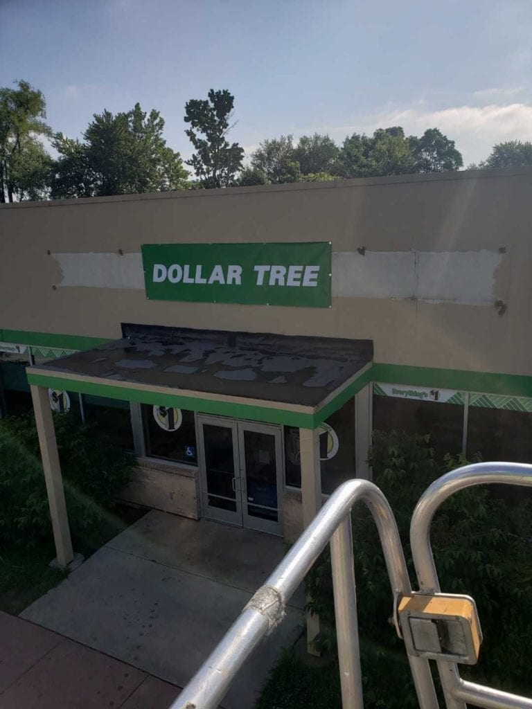 dollar tree temporary banner storefront new store