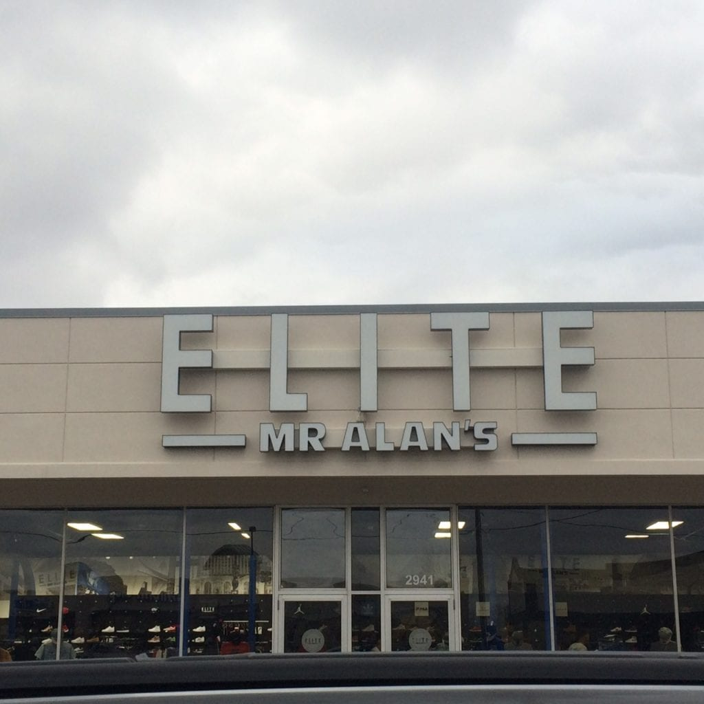 Elite, Mr Alan's custom storefront channels letters on raceway