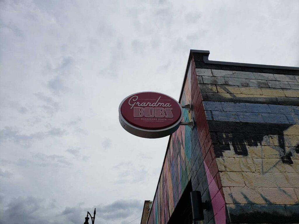 Grandma Bobs pizzeria handmade pizza blade sign detroit corktown