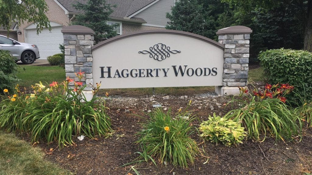 Haggerty Woods residental monument stone masonery pillars logo symbol landscape