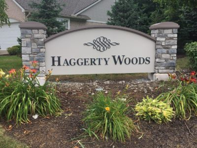 haggerty woods residental monument sign