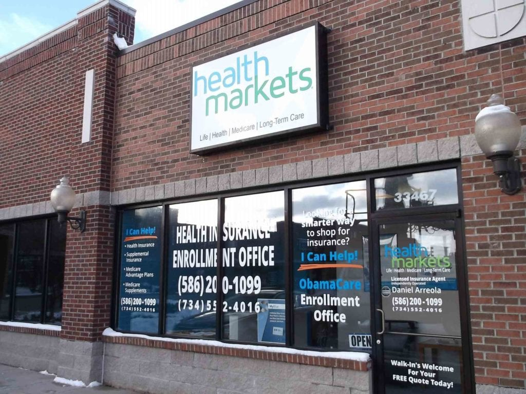 Health Markets exterior wall sign cabinet face box signage