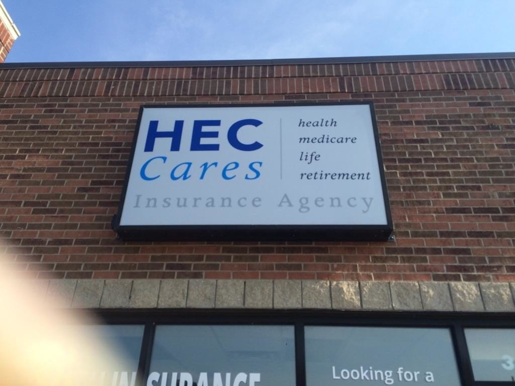 HEC Cares box sign exterior retail signage