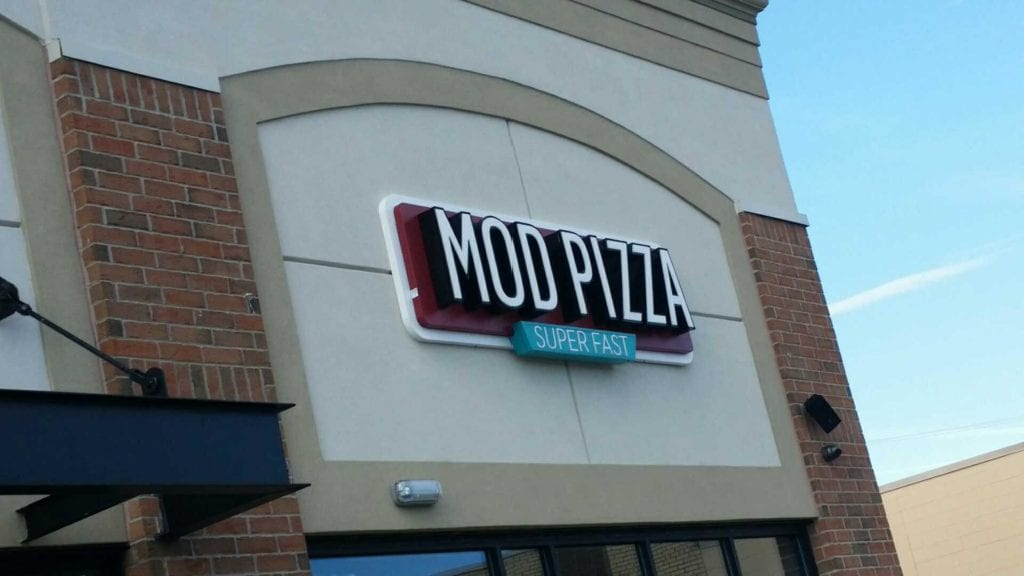 Mod Pizza Exterior Building Sign Channel Letter on dimensional backer