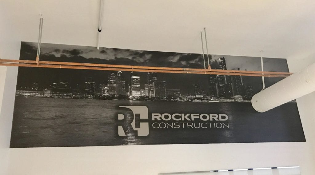 Rockford Construction Wall interior vinyl graphics