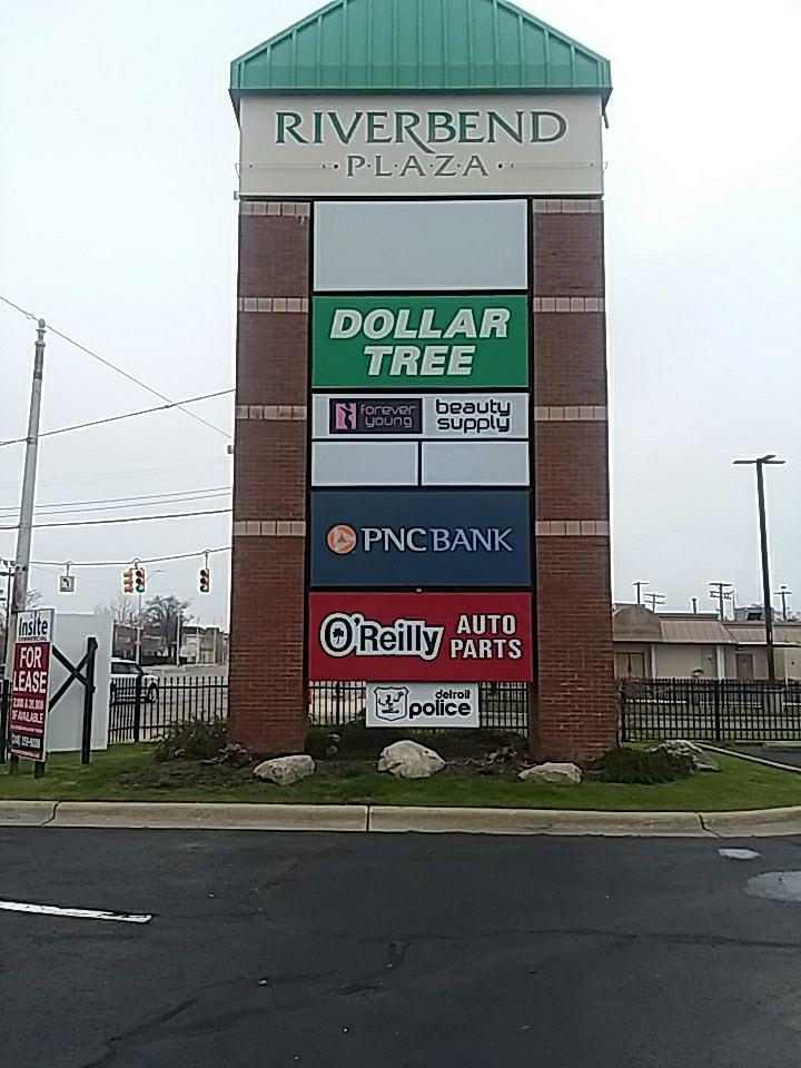 Riverbend Plaza Pylon Sign dollar tree PNC bank tenant panel faces brick columns multi-tenant shopping mini mall