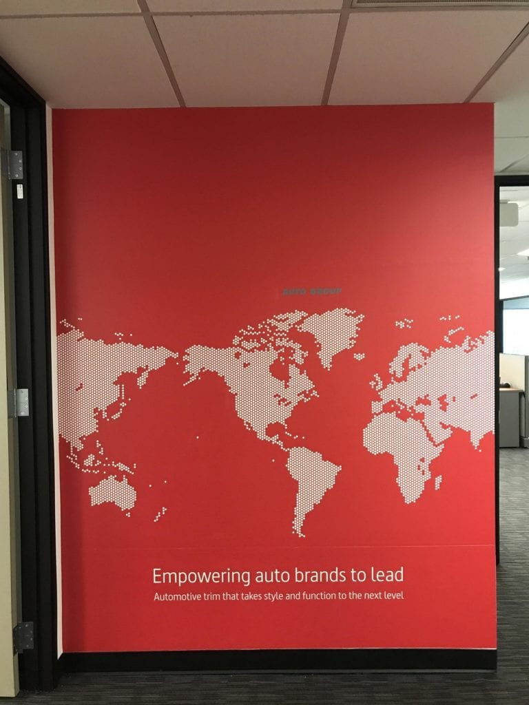Stanley Office Empowering auto brands world map wall graphics vinyl interior dots automotive