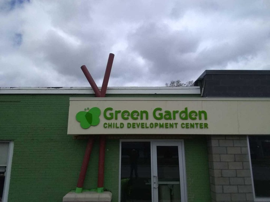 Green Gardens Child Development Center Fabricated Custom logo and letters for buiding exterior sign
