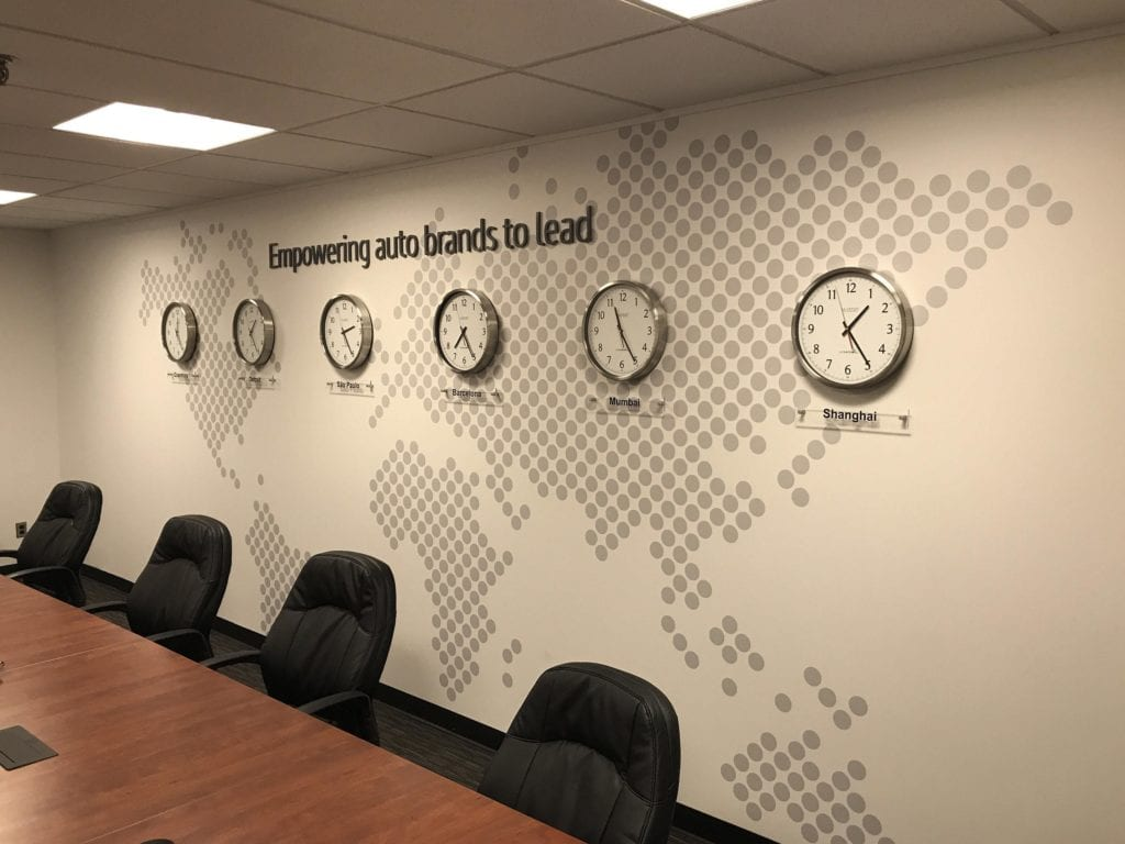 Wall dots stanley empoering auto brands to lead clocks wall interior vinyl graphics world map dots