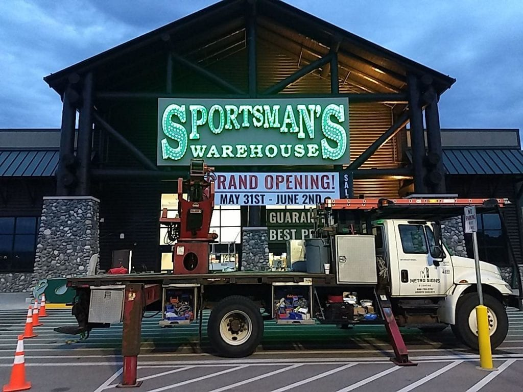 Sportsman's Warehouse illuminating Front lit Exterior Sign Channel Letters with a backer