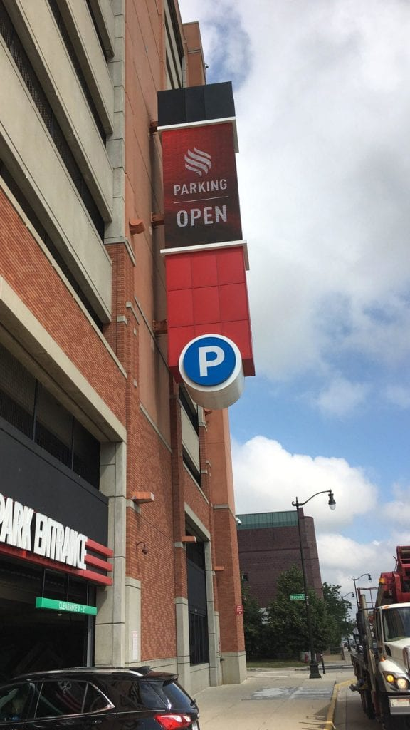 "Greektown Parking Garage Detroit EMC led digital display sign blade wayfinding arrow 'P"" circle"