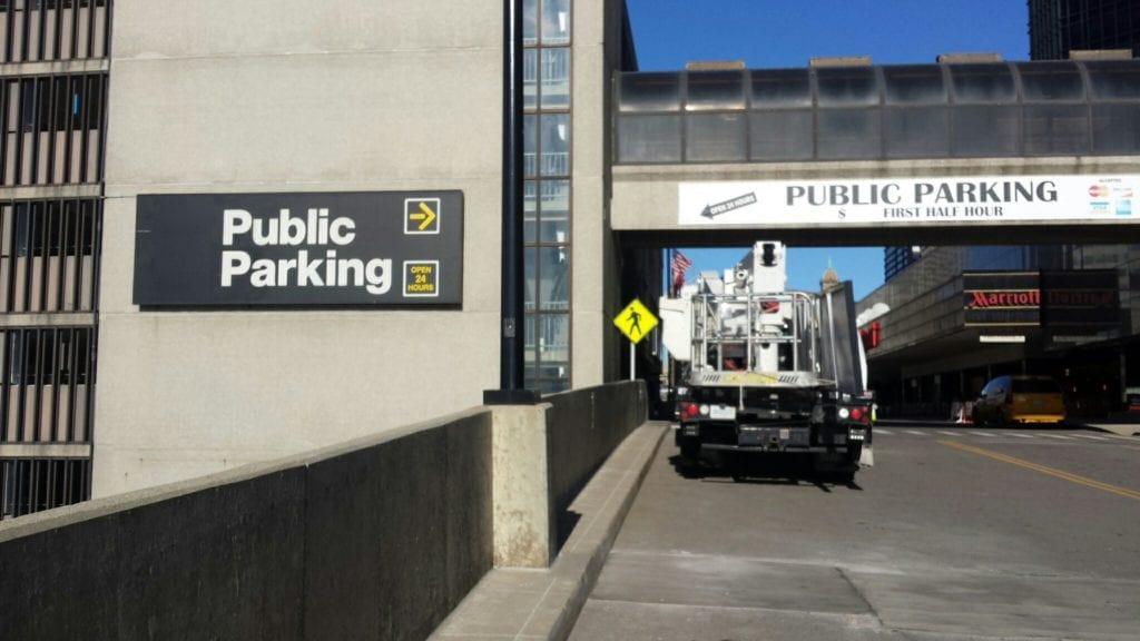 Public Parking Directional Detroit Ren Center Garage