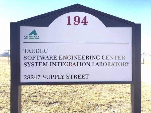 Tardec post and panel sign software engineering center building identifier