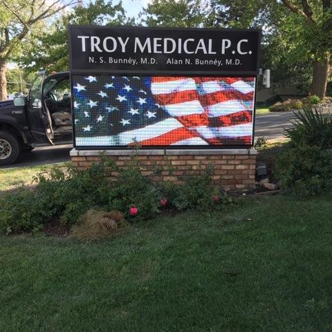 Troy Medical Monument Sign with a EMC Digital Display