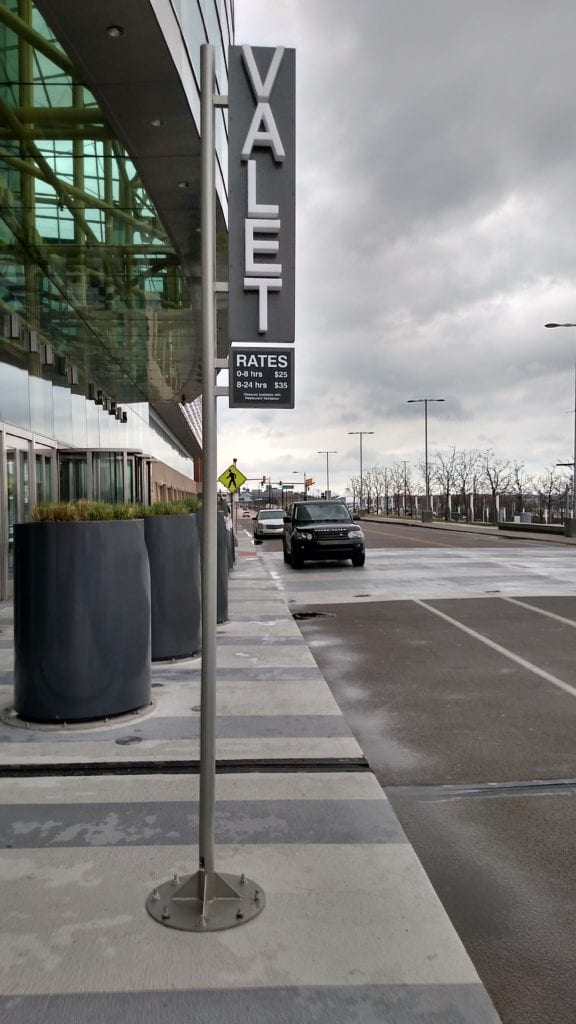 VALET pole sign mounted to ground in detroit