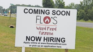 Flo's Wood Fired Pizzeria COming SOon Sign
