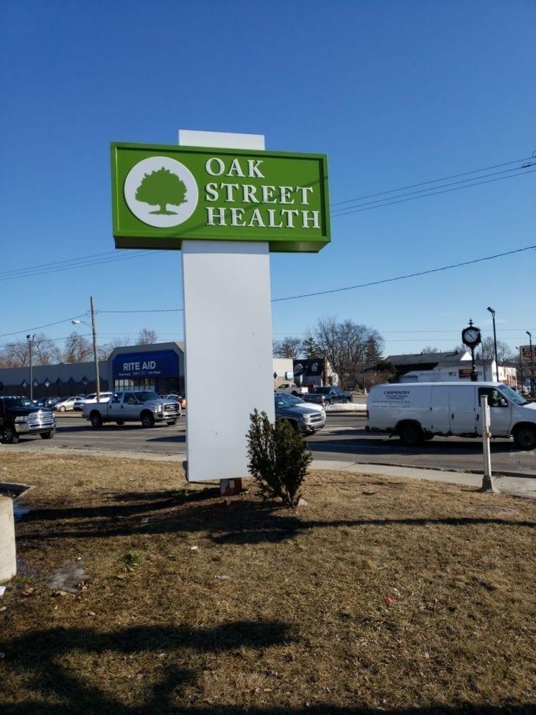 oak street health flint pylon pole sign