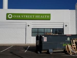 oak street health flint box wall sign cabinet