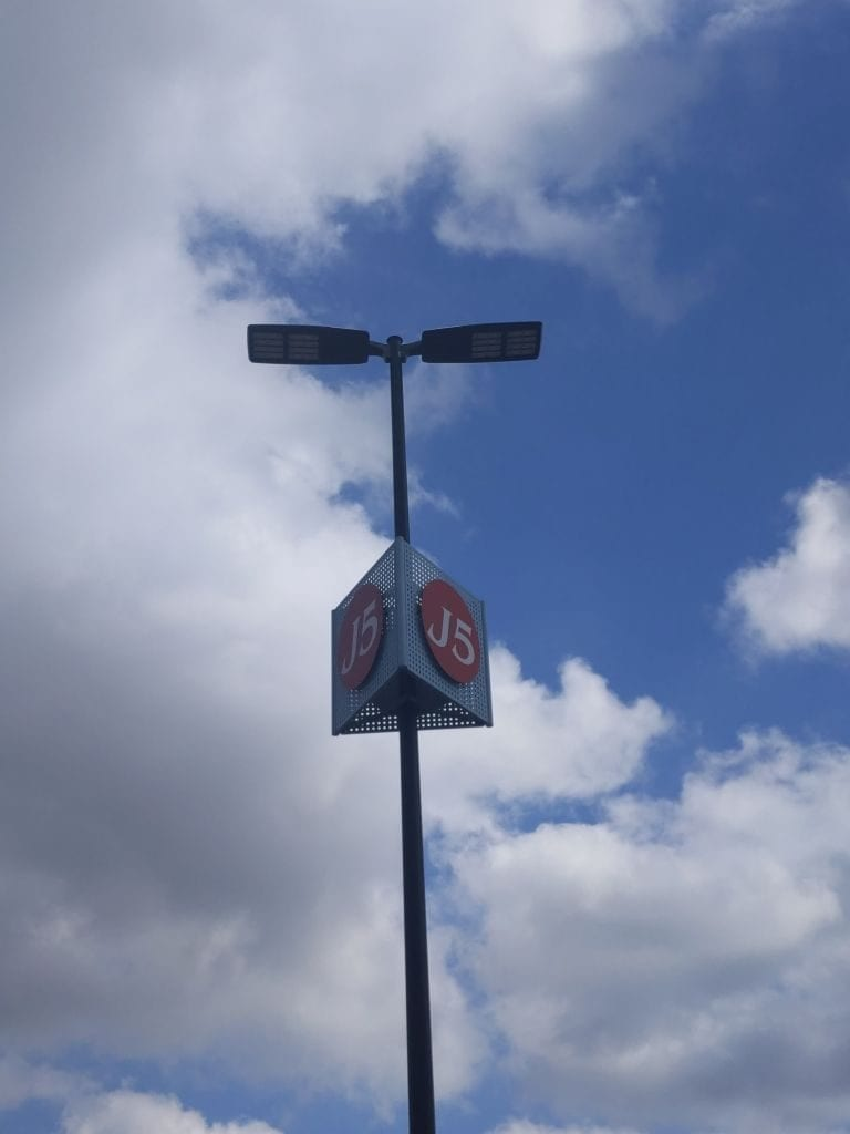 woodland mall parking lights with custom made markers