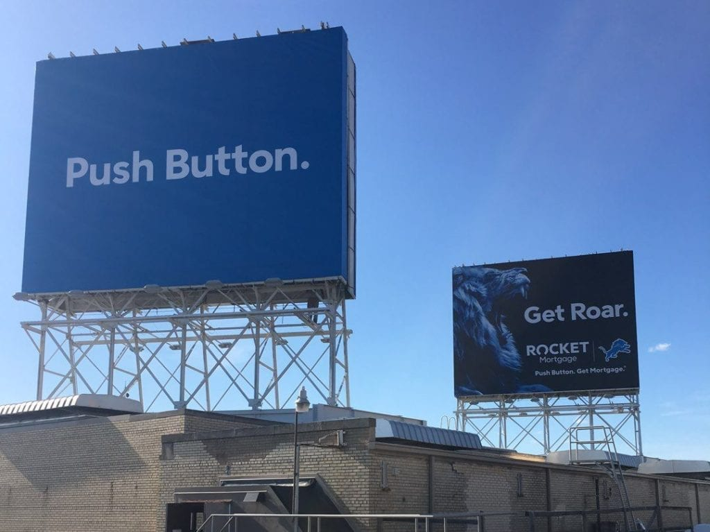 "Rocket Mortgage Billboards Detroit football lionsLions Quicken Loans ""push button"" Get roar"""