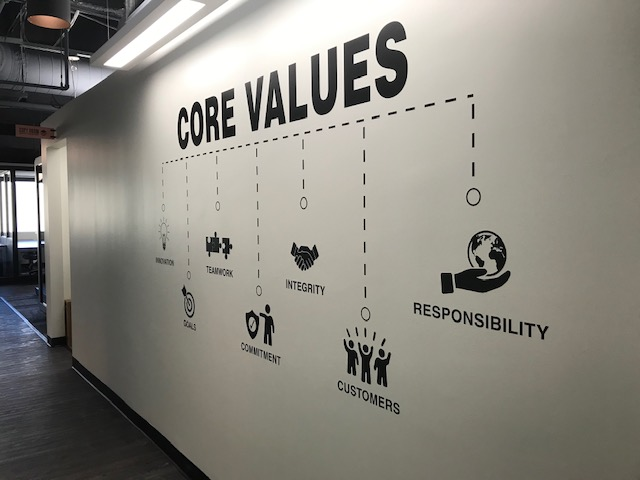 "sevenco core values wall vinyl interior decor ""core values"" ""innovation""""goals""""teamwork""""commitment""""integrity""""customers""""responsibility"" Icons"