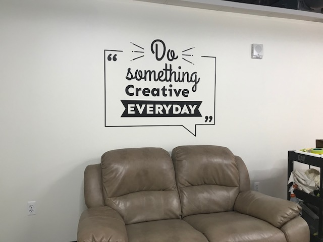 "sevenco interior wall vinyl ""do something creative everyday"" quote"
