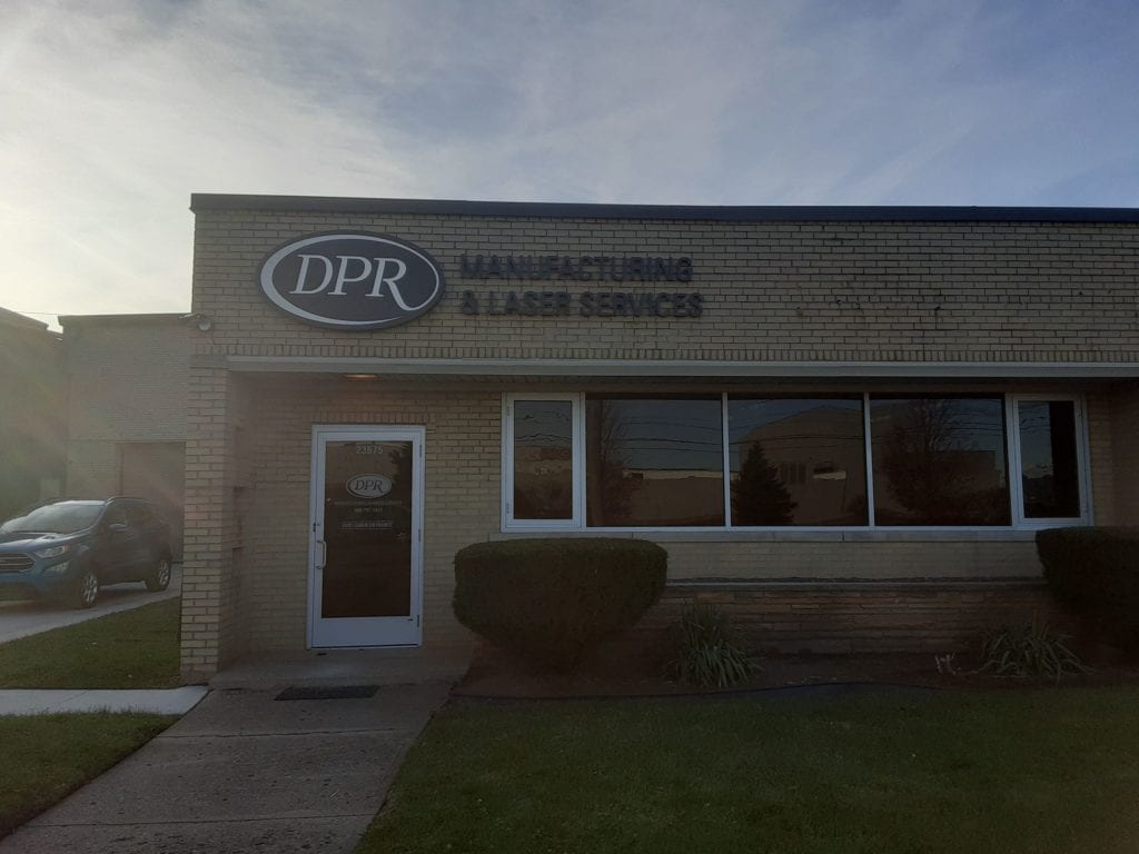 "DPR manufacturing and laser services Detroit Michigan Exterior dimensonal sign letters and logo acrylic 3/8"" brick building"