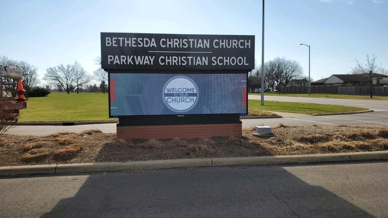 LED Digital Display sign Church Ground Sign Monument Brick Base Illuminating