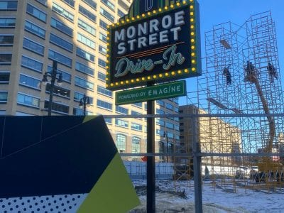 Monroe Street Drive In Sign Detroit Downtown