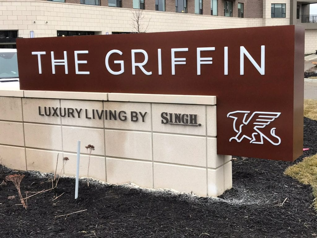 Griffin Monument Sign in Royal Oak - apartment building